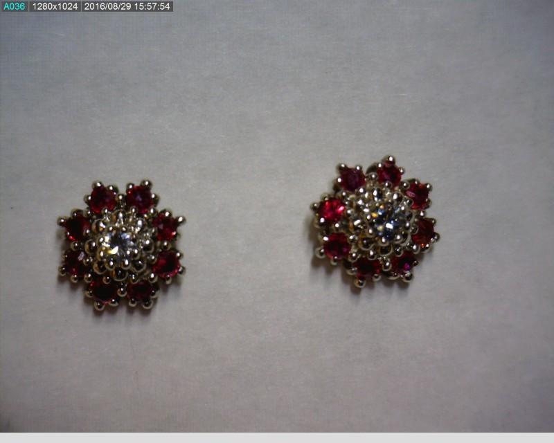 Ruby Gold-Diamond & Stone Earrings 2 Diamonds .10 Carat T.W. 14K White Gold