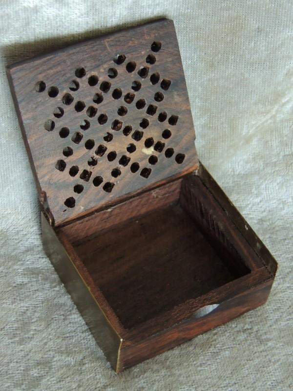 Handmade Small Lattice Cutwork Wood Metal Trinket Box