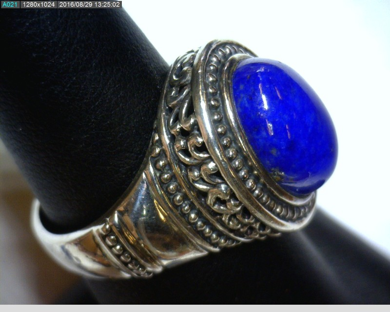 Lapis Lady's Silver & Stone Ring 925 Silver 6.3dwt Size:7.5