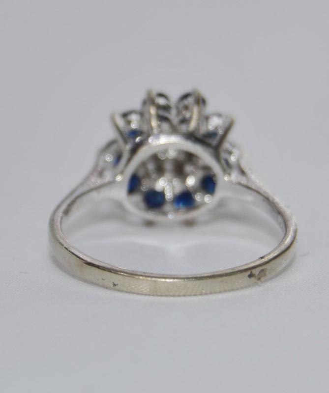 10K White Gold Basket Set Sapphire & Diamond Cluster Flower Ring Size 6