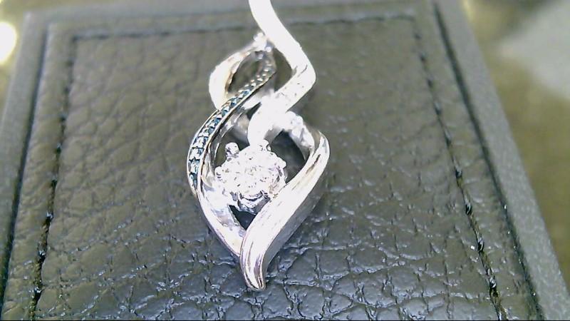 Lady's sterling silver 925 diamond fancy pendant