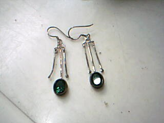 Green Stone Silver-Stone Earrings 925 Silver 5.4g