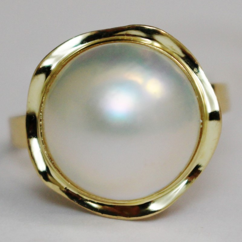 Baroque Pearl Set In 14K Yellow Gold Size 10