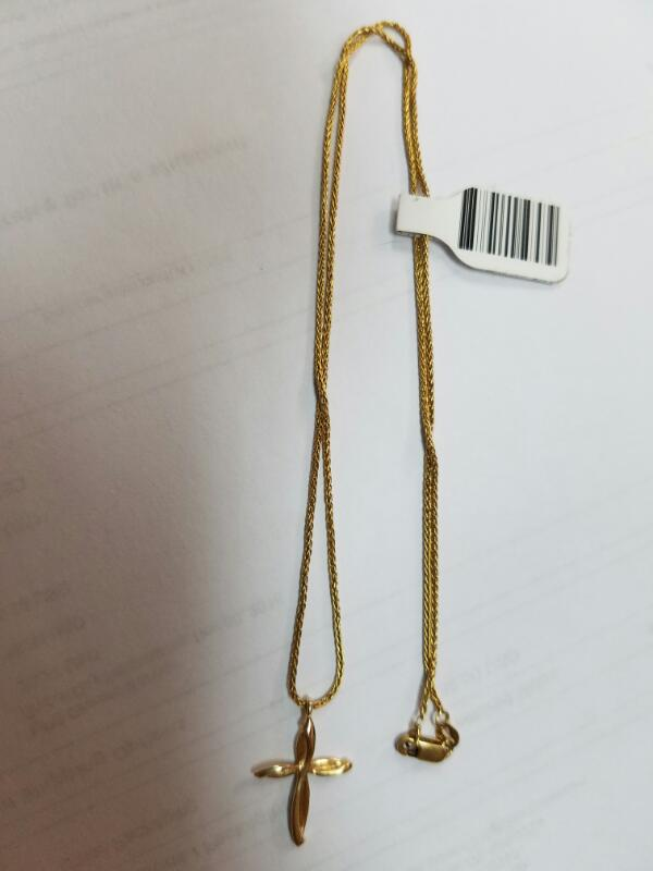 Gold Chain with Cross 14K Yellow Gold 3.3g
