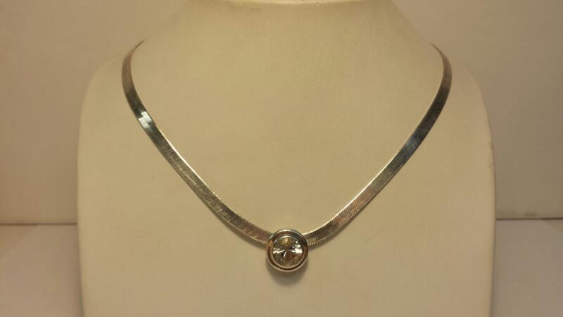 """Silver (925) 1 White Stone - 7.5dwt - Lenght 15"""""""