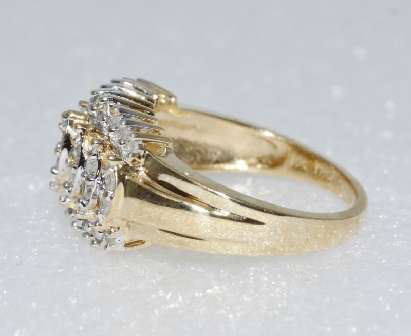 10K Yellow Gold Vintage Inspired Diamond Cluster Dome Ring Size 7.25