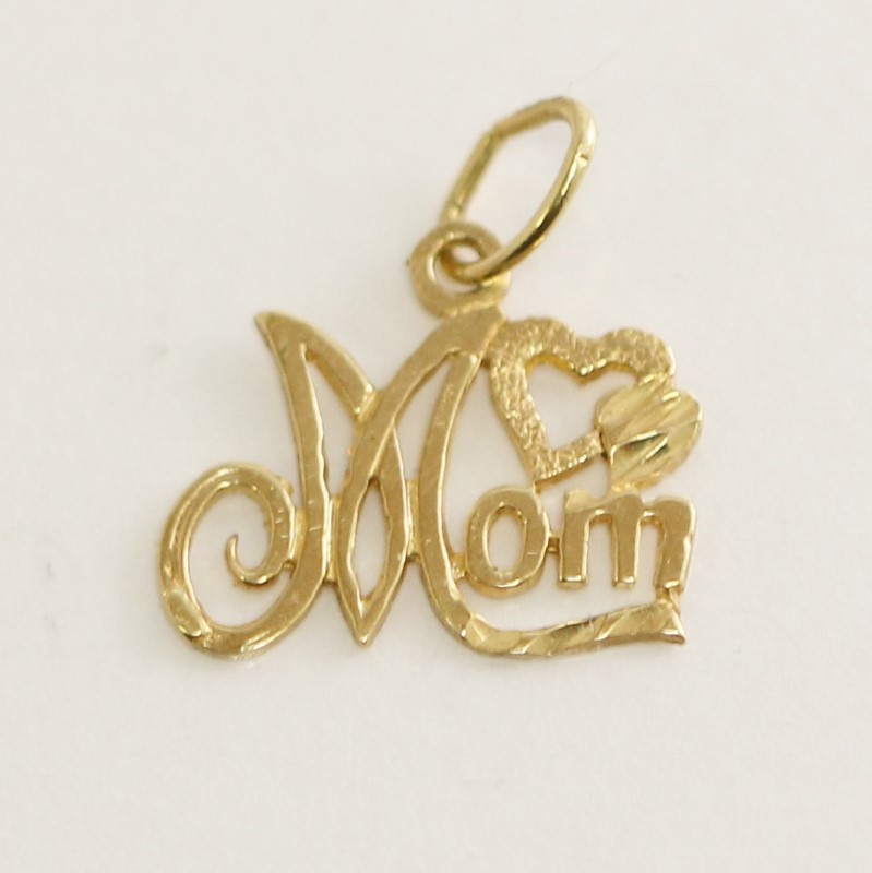 """""""Mom"""" and Hearts 14K Yellow Gold Charm/Pendant"""