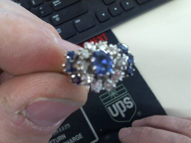 Sapphire Lady's Stone & Diamond Ring 10 Diamonds .60 Carat T.W. 14K White Gold
