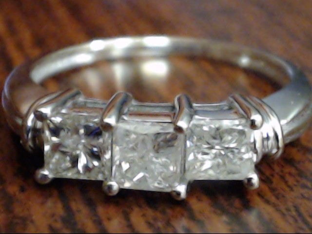 VINTAGE PRINCESS 3 DIAMOND ENGAGE WED RING SOLID 14K WHITE GOLD SZ 8