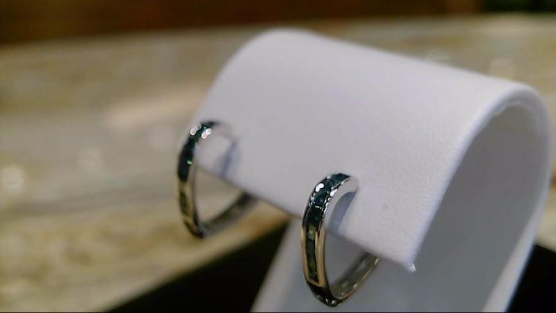 Lady's 10k white gold princess cut blue diamond heart shape earrings