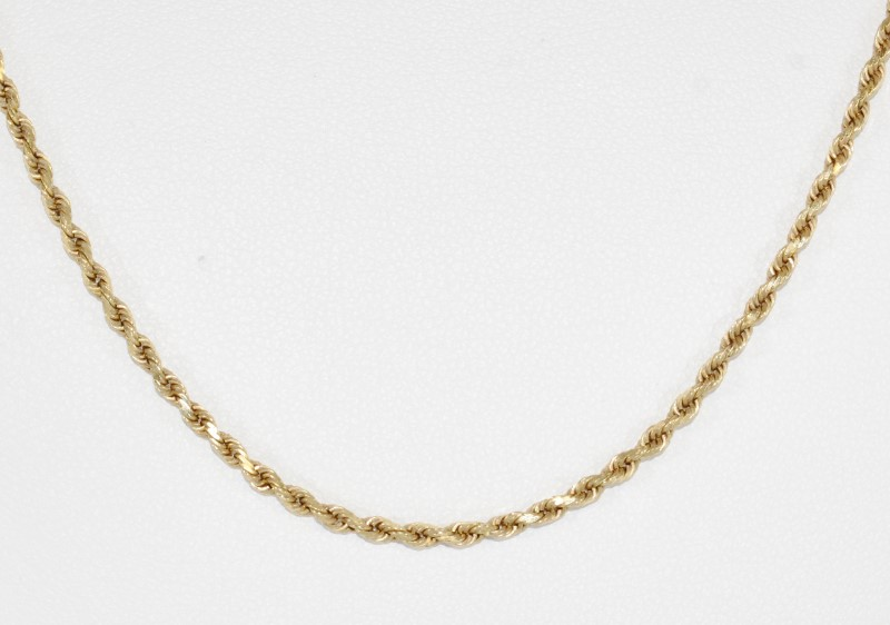 "24"" 14k Yellow Gold Rope Chain Necklace"