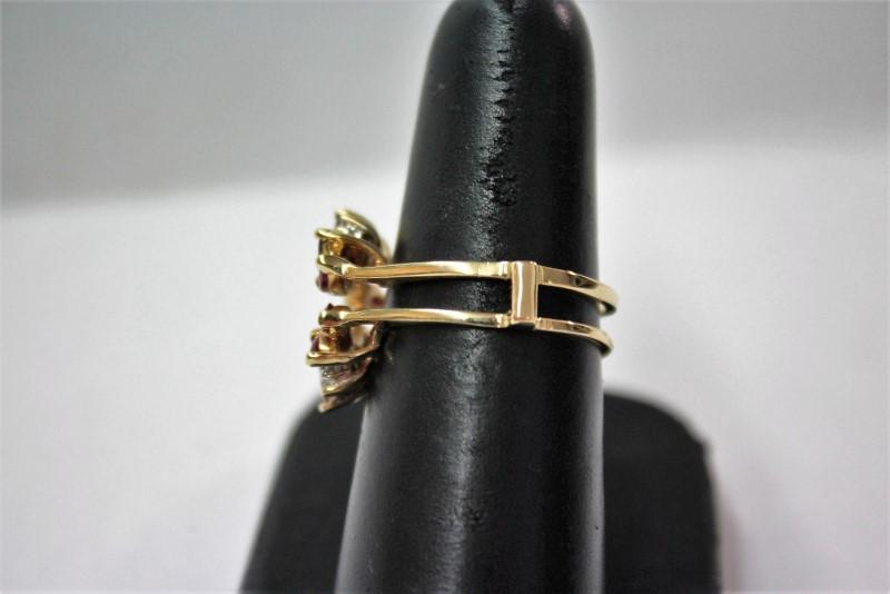Ruby Lady's Stone & Diamond Ring 4 Diamonds .12 Carat T.W. 14K Yellow Gold 4.9g