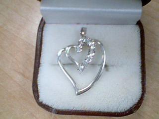 Silver-Diamond Pendant 8 Diamonds .80 Carat T.W. 925 Silver 2g