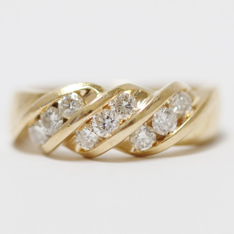 14K Yellow Gold Twist & Channel Set Round Cut Diamond Ring Size 4.5