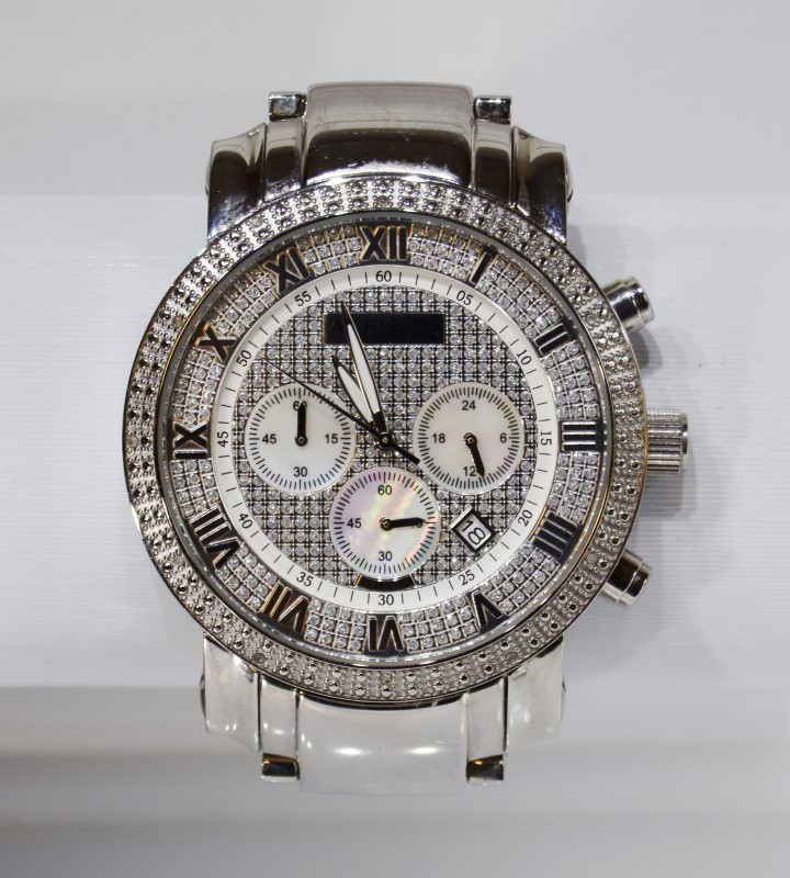 Akribox AK439SS Men's Grandiose Diamond Chronograph St Steel Watch