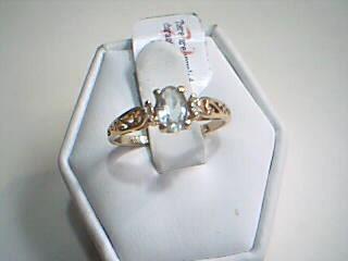 Synthetic Aquamarine Gold-Diamond & Stone Scrap 4 Diamonds .04 Carat T.W.