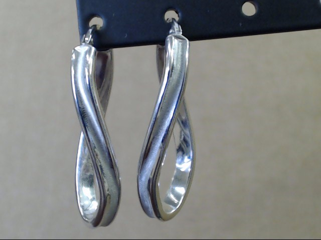 ESTATE LONG TWIST WAVE RIB HOOP EARRINGS SOLID 10K WHITE GOLD ITALY