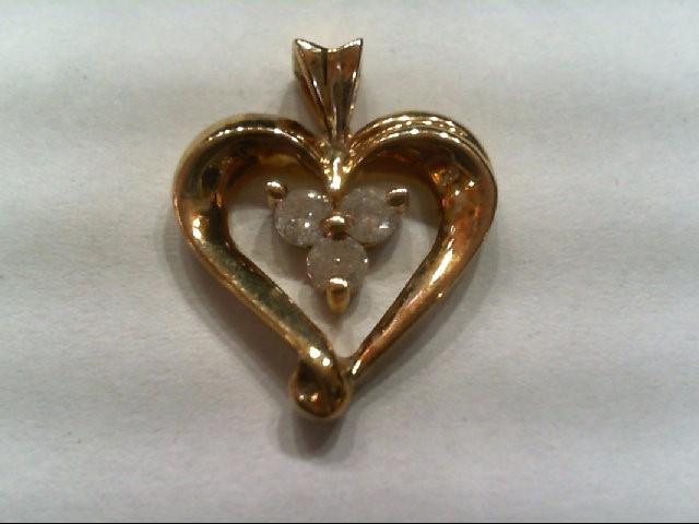 Gold-Multi-Diamond Pendant 3 Diamonds .25 Carat T.W. 10K Yellow Gold 2.5g