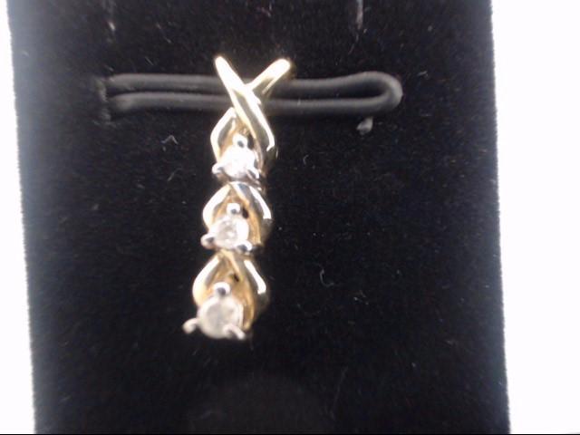 Gold-Multi-Diamond Pendant 3 Diamonds .03 Carat T.W. 10K Yellow Gold 0.08g