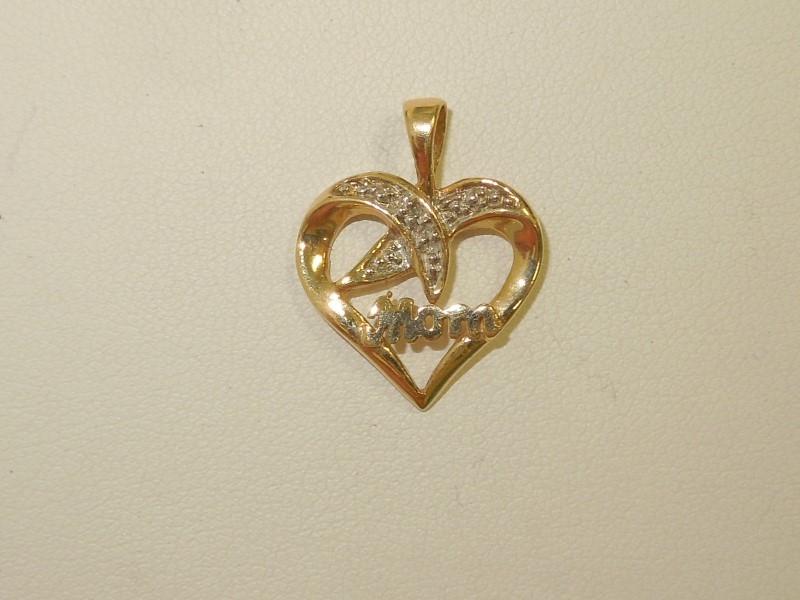 Gold-Multi-Diamond Pendant 2 Diamonds .02 Carat T.W. 10K Yellow Gold 1.4g