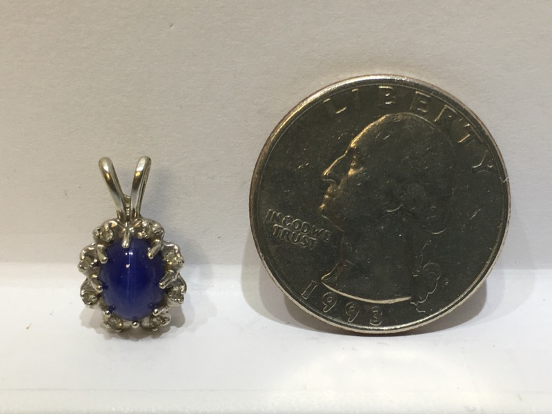 14K White Gold Vintage Inspired 8 Prong Set Oval Star Sapphire Pendant