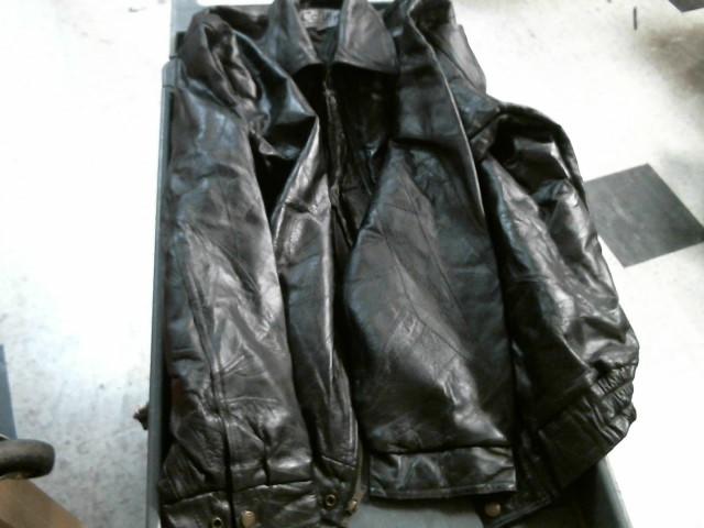 BLACK LEATHER COAT JACKET