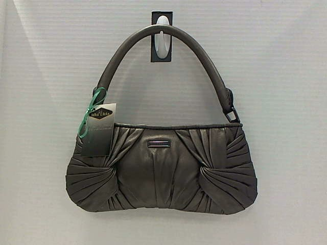 BURBERRY LETHER SILVER PLEATED METALLIC SMALL EVENING BAG SHOULDER BAG