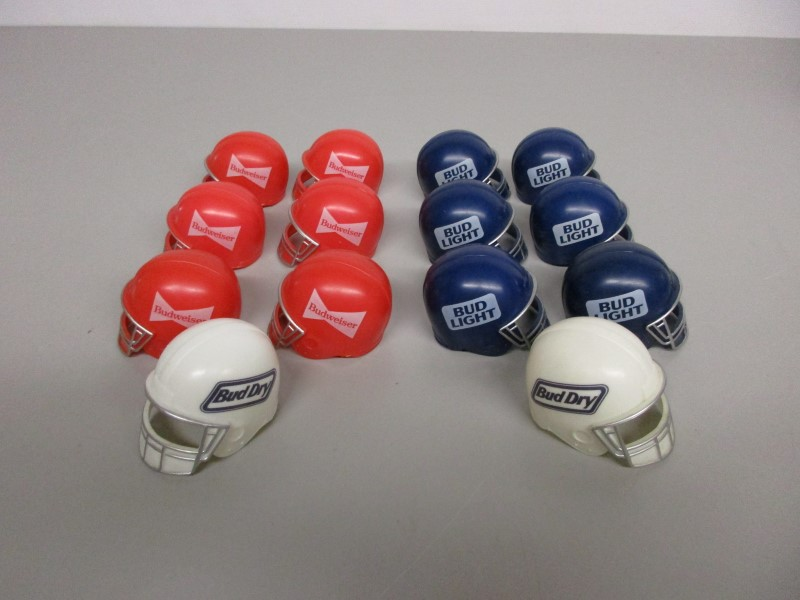 LOT OF FOURTEEN (14) BUDWEISER BUD BOWL HELMET BOTTLE TOPPERS