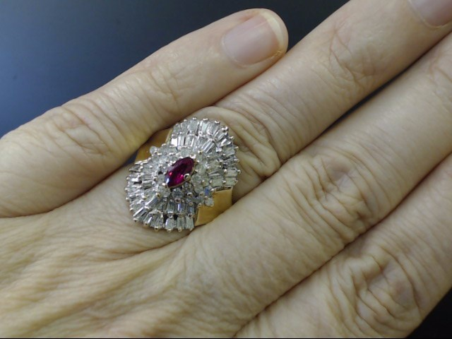 ESTATE RUBY 62 DIAMOND CLUSTER COCKTAIL RING REAL 10K GOLD SIZE 7.5