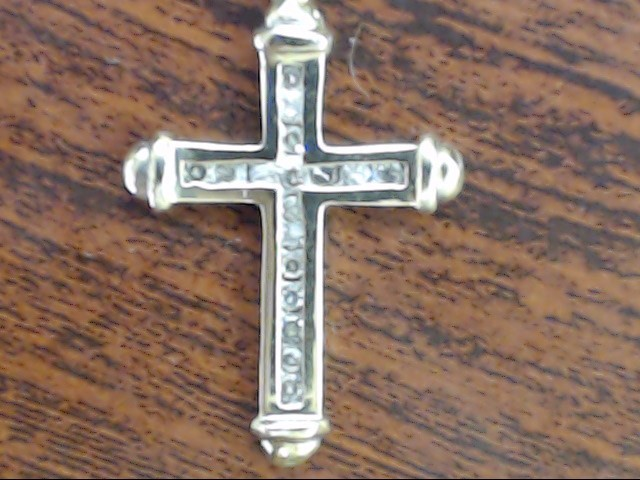 VINTAGE DIAMOND CROSS PENDANT CHARM SOLID REAL 14K GOLD RELIGIOUS