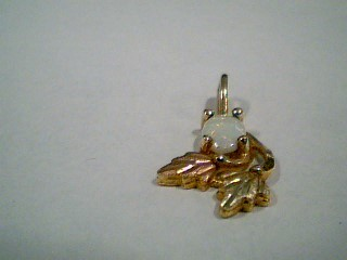 Synthetic Opal Gold-Stone Pendant 10K 2 Tone Gold 0.8g