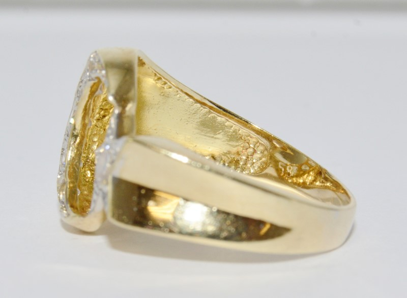 14K Yellow Gold Crescent Moon & Star Symbol of Islam Cubic Zirconia Ring sz 7.5