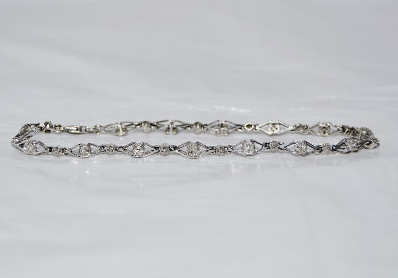 10K White Gold Diamond Link Diamond Cluster Tennis Bracelet Lobster Clasp 7.5""