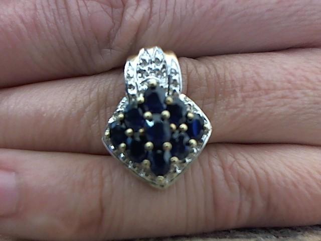 Blue Stone Gold-Stone Pendant 14K Yellow Gold 4g