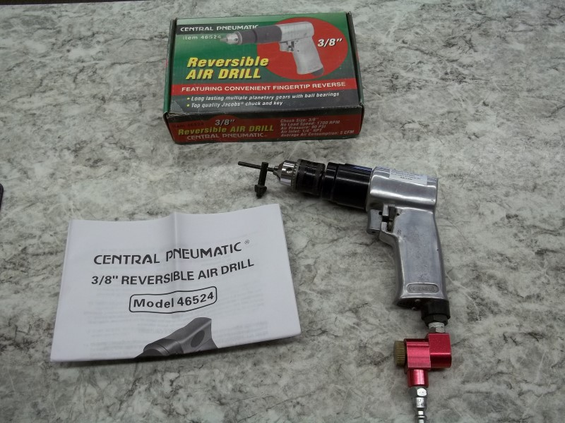 """CENTRAL PNEUMATIC 46524 3/8"""" REVERSIBLE AIR DRILL WITH MANUAL AND BOX"""