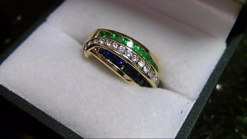 Synthetic Sapphire Lady's Stone & Diamond Ring 18 Diamonds .18 Carat T.W.