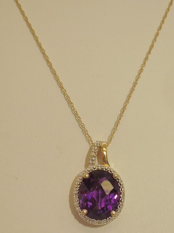 Synthetic Amethyst Diamond & Stone Necklace 5 Diamonds .025 Carat T.W.