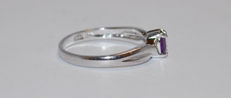 Women's Sterling Silver Split Shank Basket & Emerald Cut Amethyst Ring Size 9
