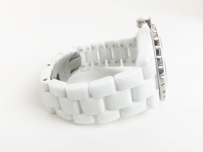 CHANEL J12 WHITE CERAMIC DIAMOND DIAL LDS WATCH 38MM