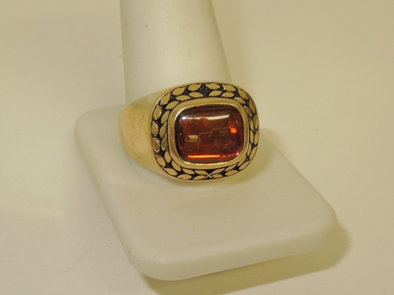 Red Stone Gent's Stone Ring 10K Yellow Gold 13g Size:14