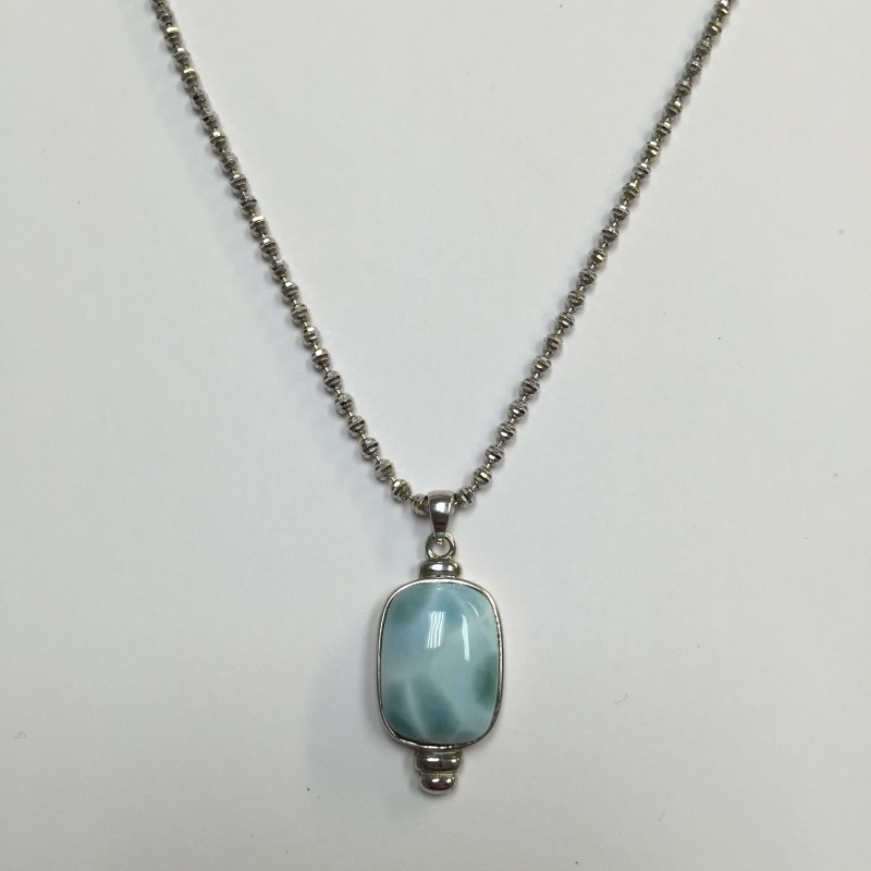 Blue Stone Stone Necklace 925 Silver 7dwt