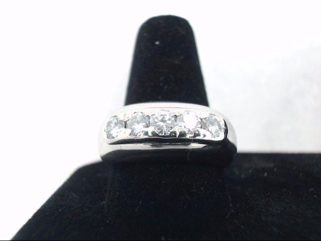 Gent's Gold-Diamond Wedding Band 5 Diamonds .50 Carat T.W. 14K White Gold 6.8g
