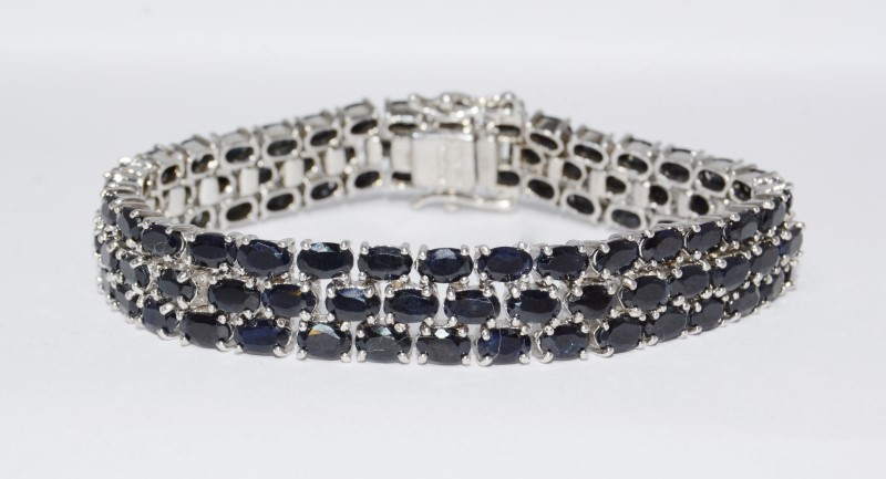 Blue Stone Silver-Stone Bracelet 925 Silver 29.33g