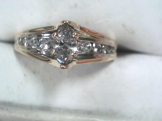 Lady's Diamond Cluster Ring 33 Diamonds .83 Carat T.W. 14K Yellow Gold 2.9dwt