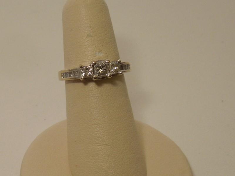 Lady's Diamond Fashion Ring 11 Diamonds .81 Carat T.W. 14K White Gold 4.2g