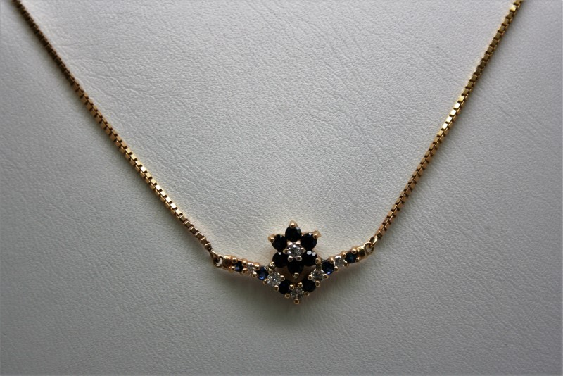 DIAMOND & SAPPHIRE NECKLACE 14K YELLOW GOLD