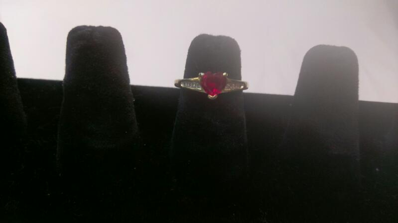 Synthetic Ruby & Diamond Ladies Ring 6 Diamonds .12 Carat T.W.