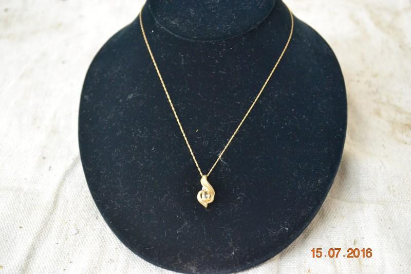 Yellow Stone Diamond & Stone Necklace .01 CT. 10K Yellow Gold 1.9g