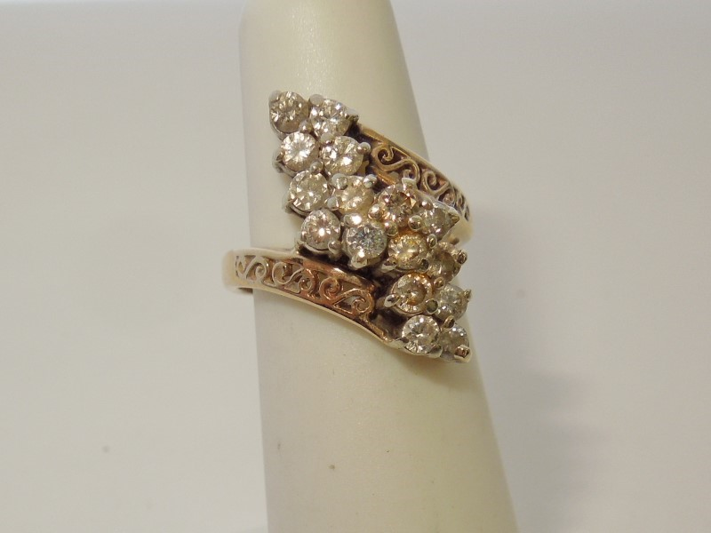 Lady's Diamond Fashion Ring 16 Diamonds .80 Carat T.W. 14K Yellow Gold 4.6g