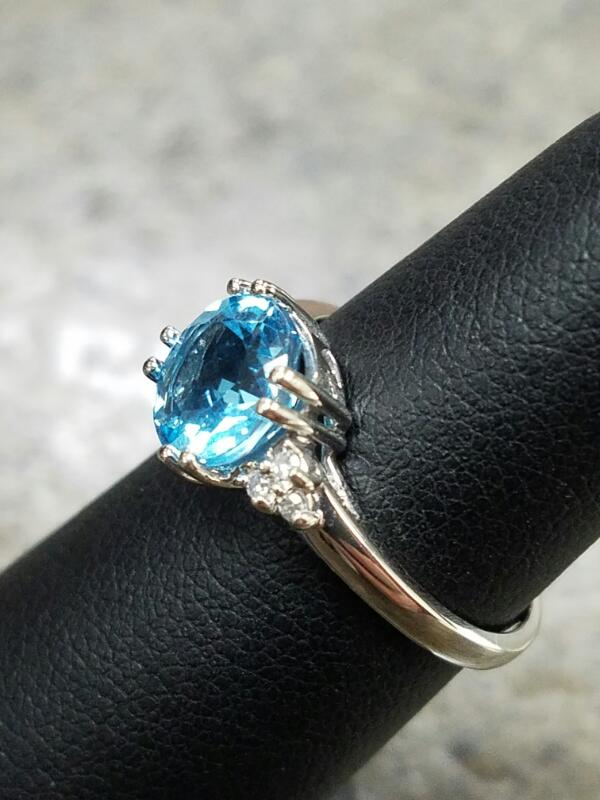 Blue Stone Lady's Stone & Diamond Ring 6 Diamonds .06 Carat T.W. 14K White Gold